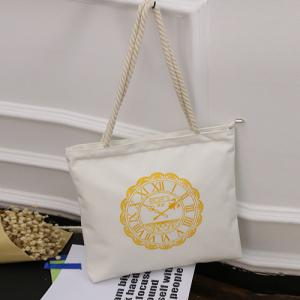 Canvas Hemp Rope Shoulder Bag - White
