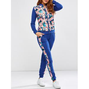 Floral Printed Jacket Jogger Pants Sports Suits - Blue - S