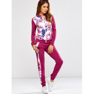 Floral Print Jacket Jogger Pants Sports Suits - PURPLISH RED XL