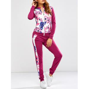 Floral Print Jacket Jogger Pants Sports Suits - Purplish Red - S
