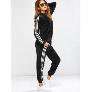 Striped Trim Hoodie with Running Jogger Pants - BLACK 3XL