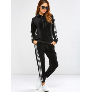Striped Trim Hoodie with Running Jogger Pants -