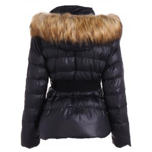 Belted Furry Hooded Winter Puffer Jacket - BLACK M