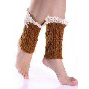 Lace Button Cable Knit Boot Cuffs