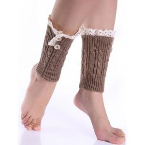 Lace Button Cable Knit Boot Cuffs - Khaki - M