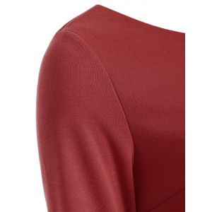 Slim Fit Long Sleeve Fishtail Bodycon Dress - WINE RED 2XL