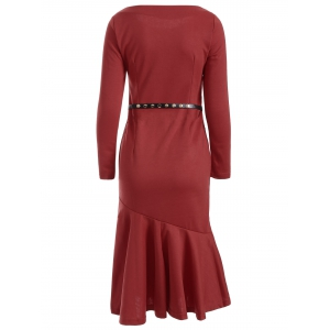 Slim Fit Fishtail Bodycon Dress - WINE RED M