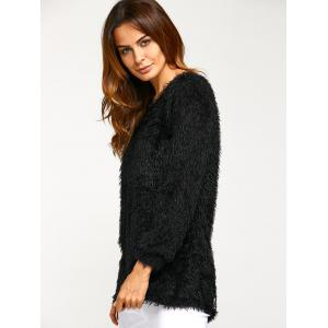 Asymmetric Pullover Mohair Sweater - BLACK XL