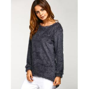 Asymmetric Pullover Mohair Sweater - DEEP GRAY XL