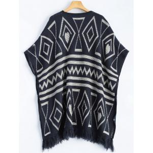 Geometric Knit Cape - PURPLISH BLUE ONE SIZE