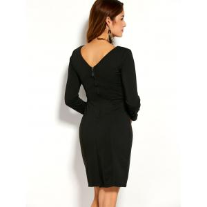 Back Zipper Long Sleeve Fitted Dress - BLACK L