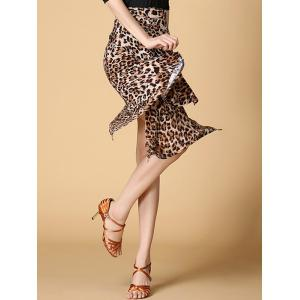 Leopard Print Asymmetrical Dance Skirt