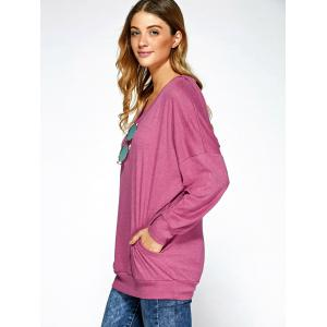 Drop Shoulder Pocket Design Hoodie - PINK XL