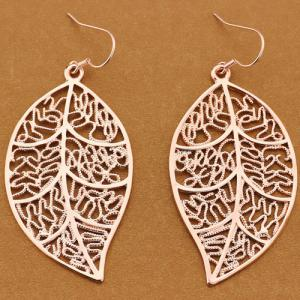 Vintage Engraved Leaves Drop Earrings - Rose Gold - One-size