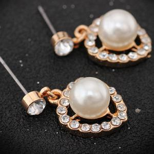 Faux Pearl Rhinestoned Heart Earrings -