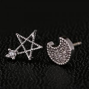 Rhinestone Star Moon Asymmetric Stud Earrings -