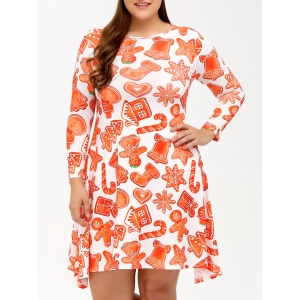 Plus Size Long Sleeve Christmas Dress
