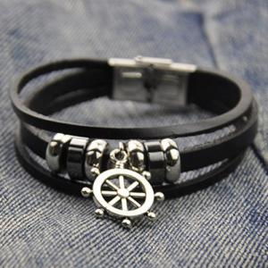 Artificial Leather Rudder Strand Bracelet - BLACK