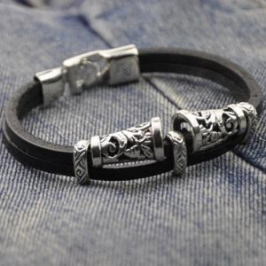 Engraved Alloy Artificial Leather Bracelet -