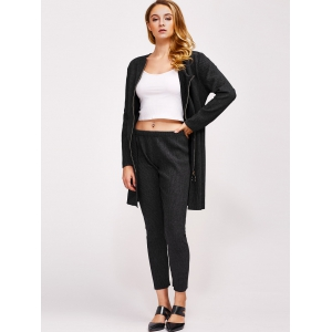 Ribbed Ninth Pants and Belted Zipper Coat -