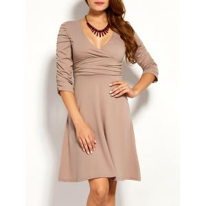 Ruched Plunge Skater Dress - Khaki - M