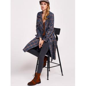 Lapel Double Breasted Plaid Coat -