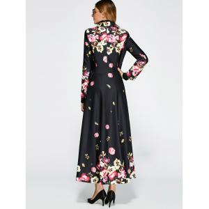 Floral Print Vintage Trench Coat Dress -