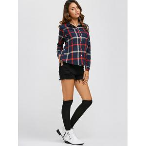 Button Up Checkered Plaid Shirt - CHECKED M