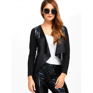 Faux Leather Spliced Knitted Jacket - BLACK XL