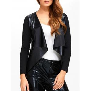 Faux Leather Spliced Knitted Jacket