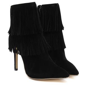Multi Fringe Stiletto Heel Boots -