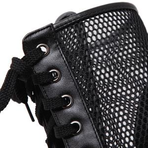 Stiletto Heel Mesh Panel Peep Toe Boots - BLACK 39