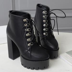 High Heel Lace Up Platform Ankle Boots - BLACK 37