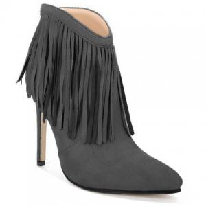 Fringe Stiletto Heel Ankle Boots - Gray - 38