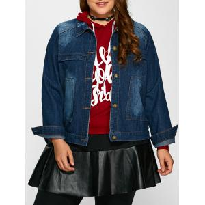 Plus Size Pocket Design Jean Jacket