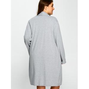 Plus Size Collarless Casual Loose Coat - GRAY 5XL