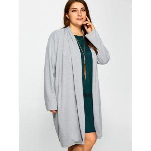 Plus Size Collarless Casual Loose Coat - GRAY 3XL