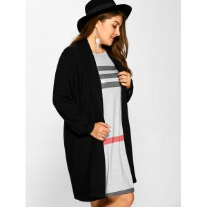 Plus Size Collarless Casual Loose Coat - BLACK 5XL