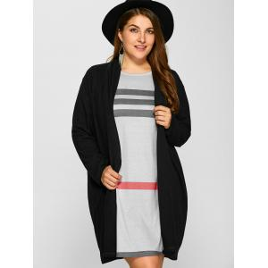 Plus Size Collarless Casual Loose Coat - BLACK 4XL