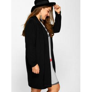 Plus Size Collarless Casual Loose Coat - BLACK XL