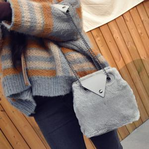 Chains Fuzzy Shoulder Bag - GRAY