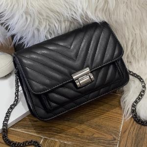 Quilted Chains Crossbody bag - Black - Horizontal