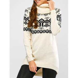 Geometric Jacquard High Low Sweater - Beige - S