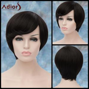 Adiors Short Silky Straight Oblique Bang Synthetic Wig