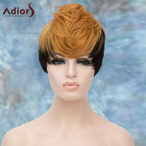 Adiors Short Double Color Layered Full Bang Straight Synthetic Wig - COLORMIX
