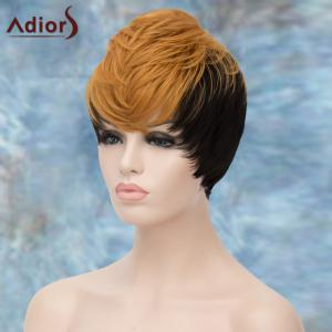 Adiors Short Double Color Layered Full Bang Straight Synthetic Wig -