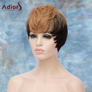 Adiors Short Double Color Full Bang Straight Synthetic Wig - COLORMIX