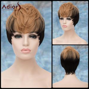 Adiors Short Double Color Full Bang Straight Synthetic Wig