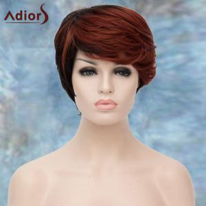 Adiors Highlight Short Inclined Bang Straight Synthetic Wig - COLORMIX