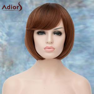 Adiors Short Ombre Inclined Bang Straight Bob Synthetic Wig - COLORMIX